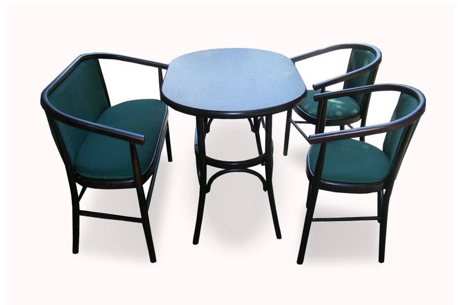 Club Table with wooden benche and 2 upholstered carver bentwood chairs