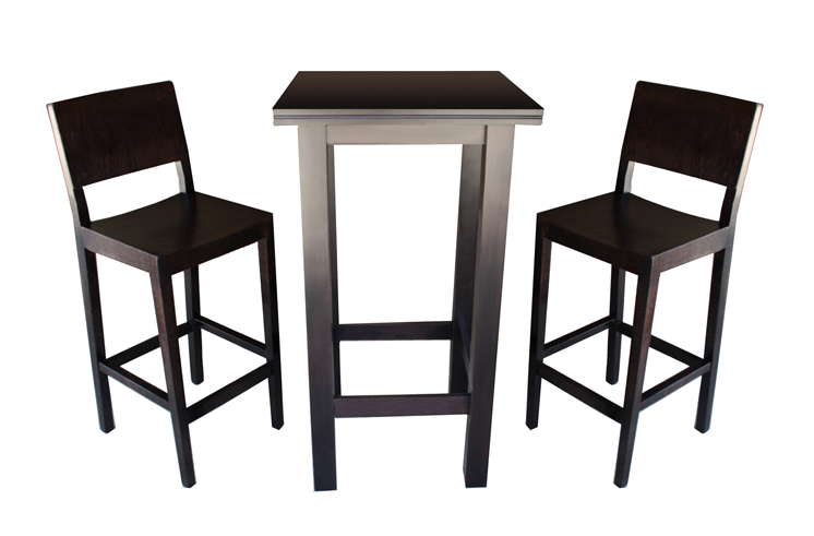 Table Nora and two bar chairs Lyron