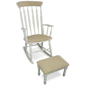 Rocking chair + upholstered stool counter