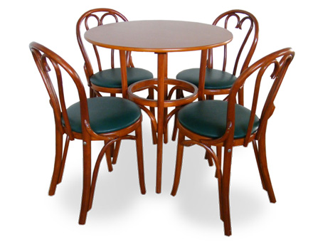 Round table and 4 upholstered Bistro chairs 6018 / 718