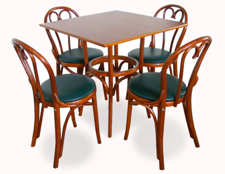 Square table and 4 upholstered Bistro chairs 6018 / 719