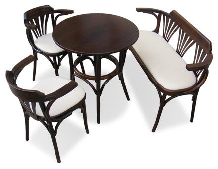 Set Masa si Bancuta Bistro + 2 scaune lemn curbat