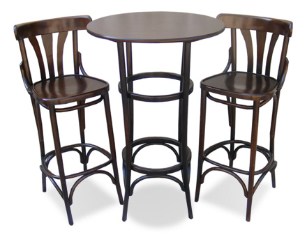 Bistro bar Set -Table + 2 bentwood bar stools 789
