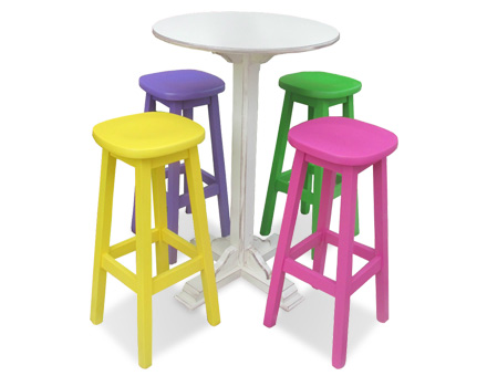 Set of four high stools and an antiquated