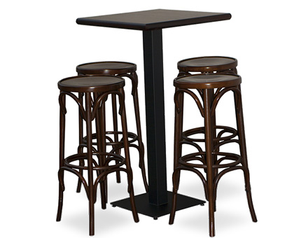 Four stools and a high table with metallic leg