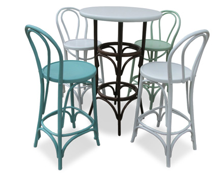 Colored bistro chairs and table set