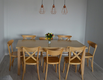 Country II table with eight betwood chairs