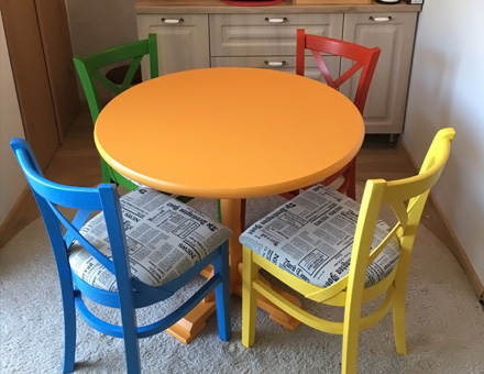 Colored MD470 chairs with round table