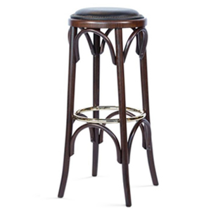 301 upholstered bentoowd stool with metal ring