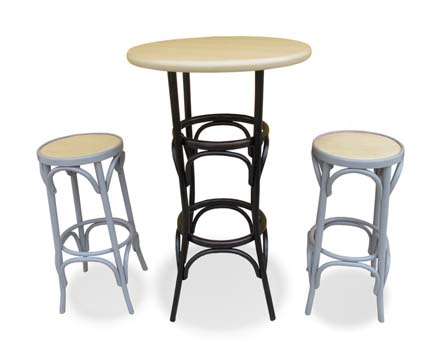 High bistro table with two thonet stools